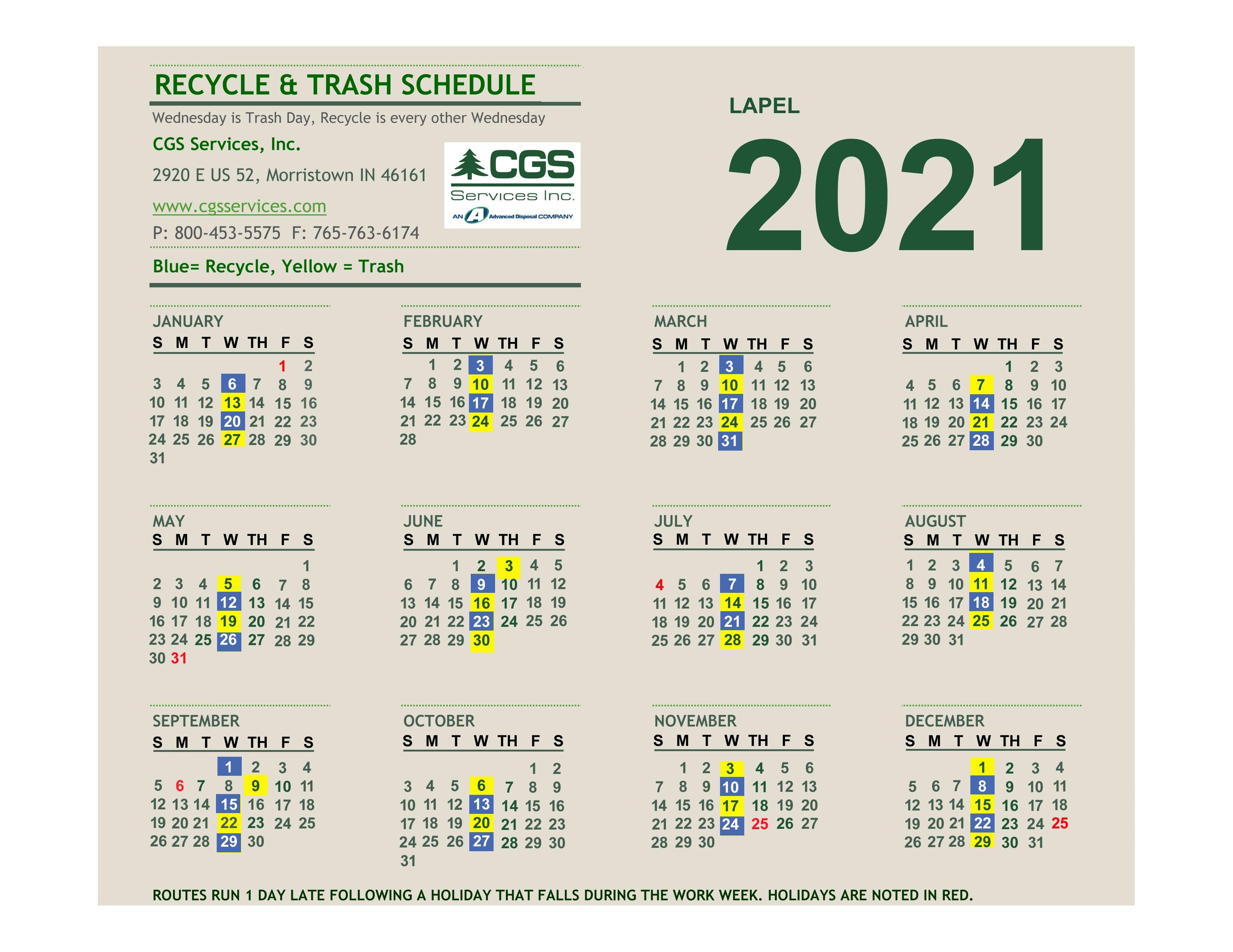 2021 Trash Pickup Schedule
